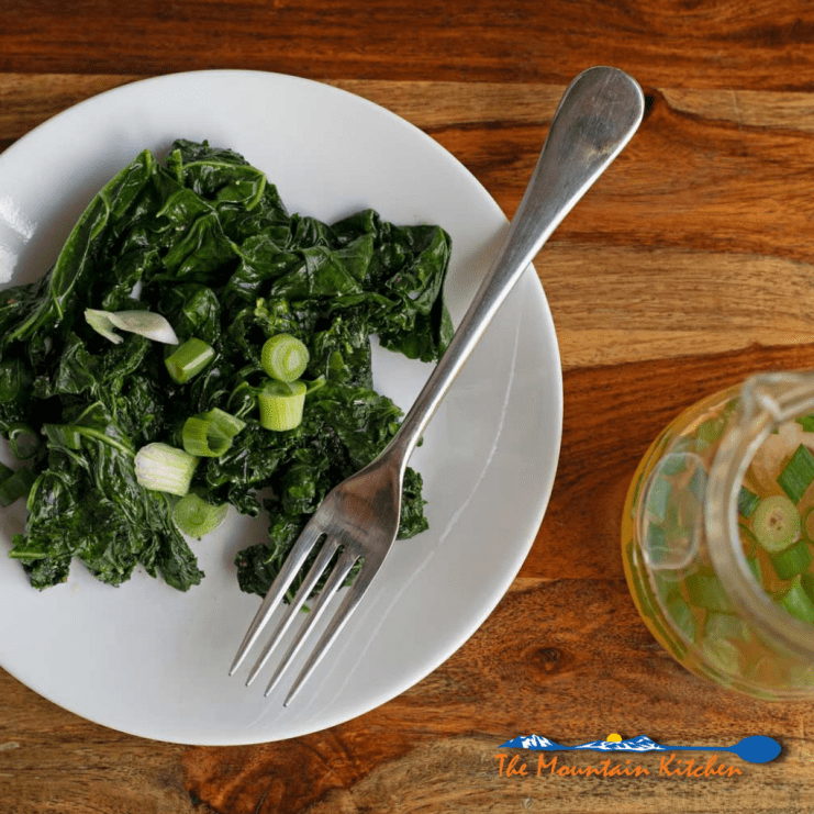 sauteed kale with spring onion vinegar