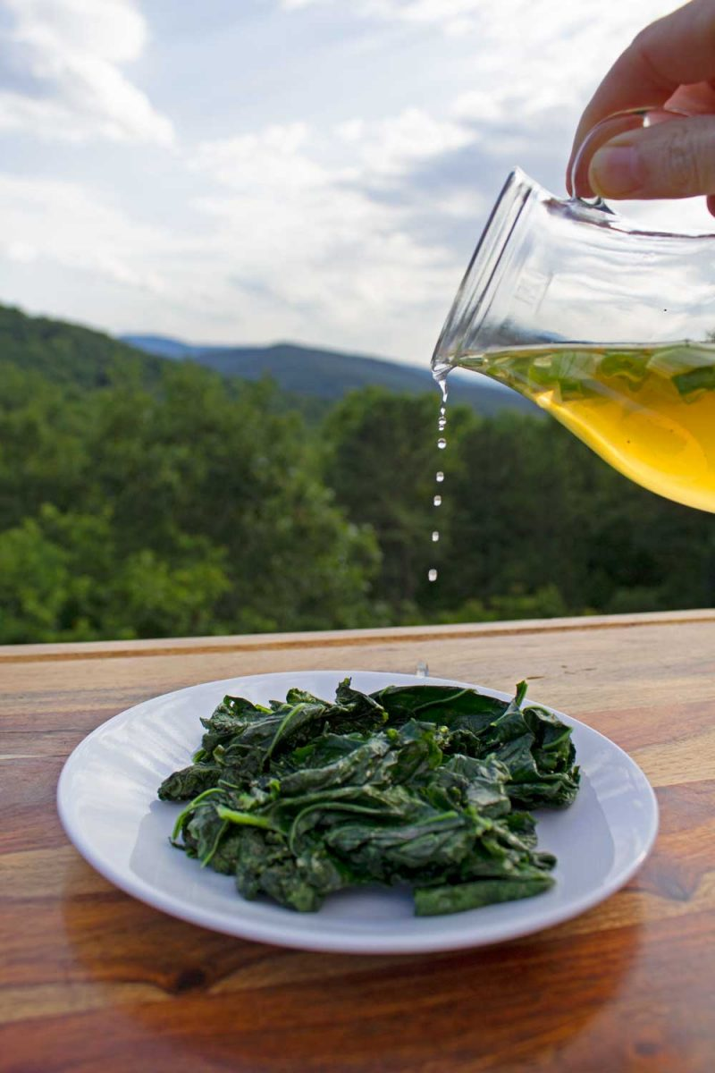 drizzling spring onion vinegar onto sauteed kale with mountain view