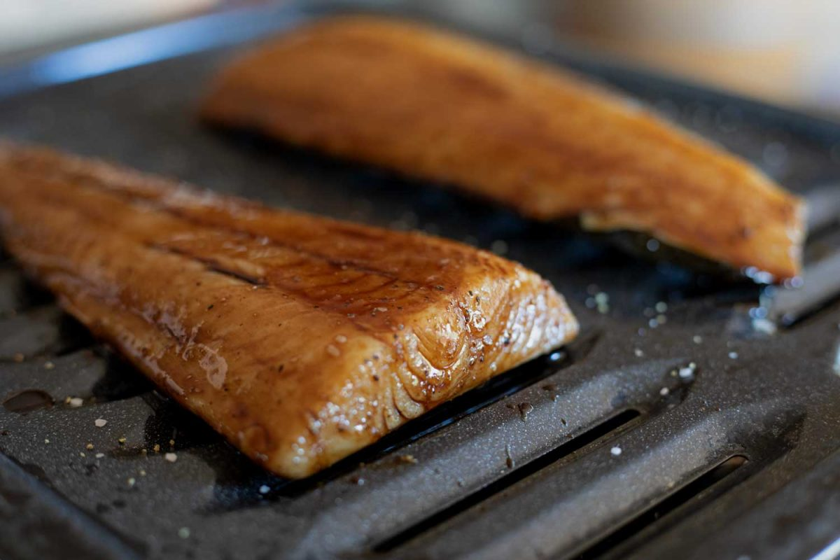 soy glazed cod on broiler pan