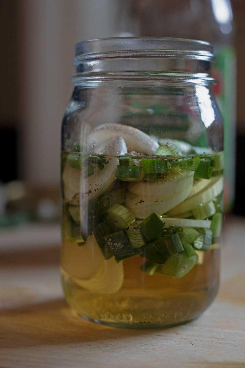 spring onion vinegar in a jar