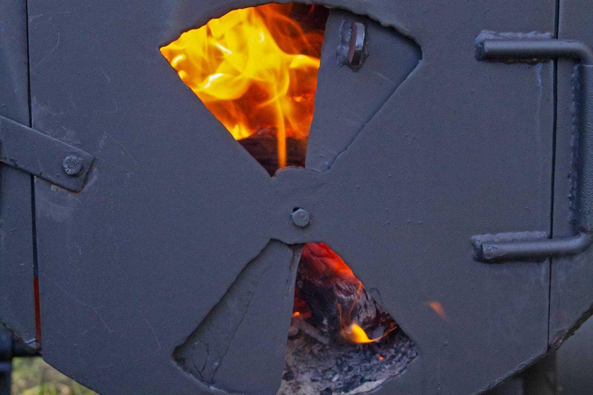 fire inside firebox