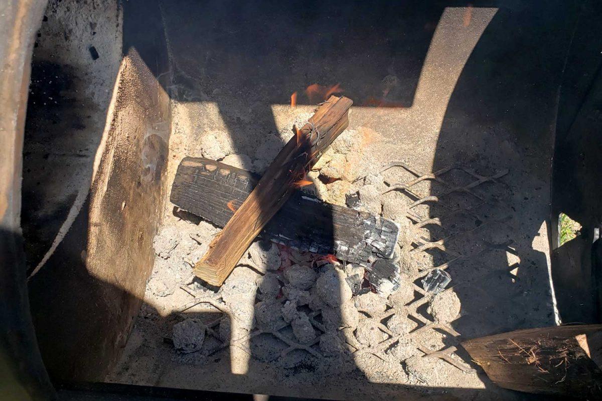 wood sticks inside firebox