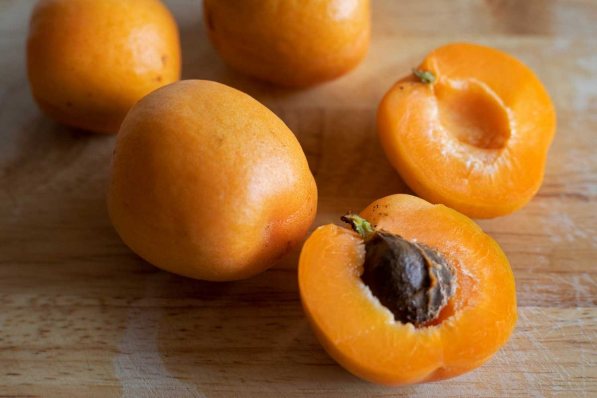 apricots on cutting board