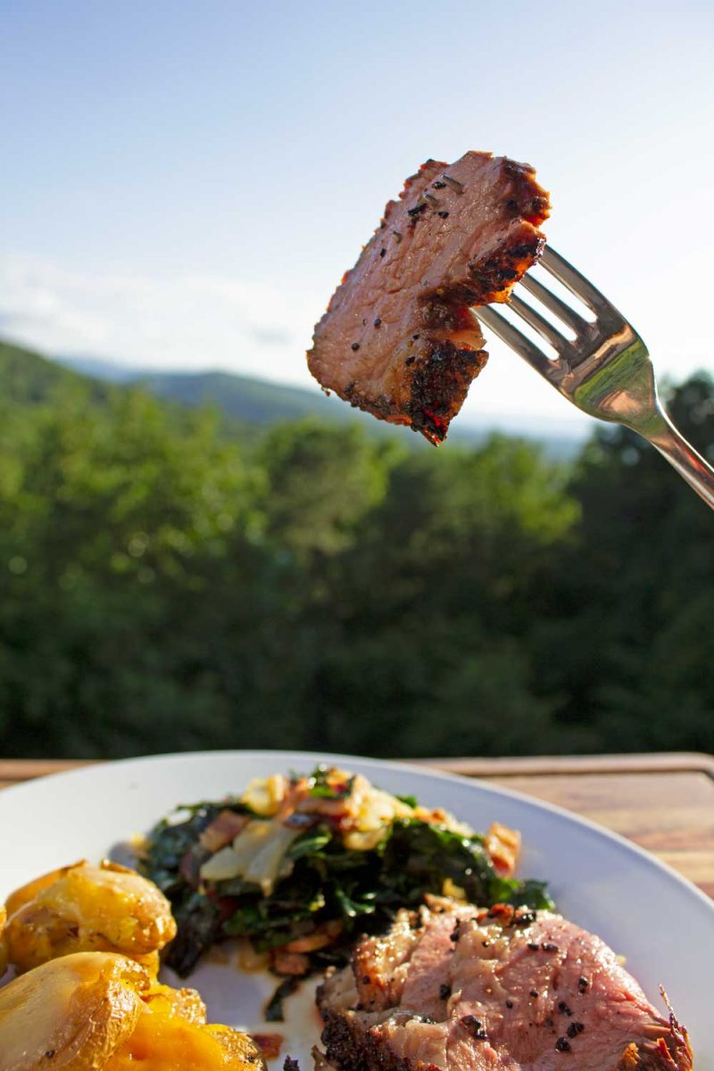 sliced smoked tri-tip on fork with mountain view