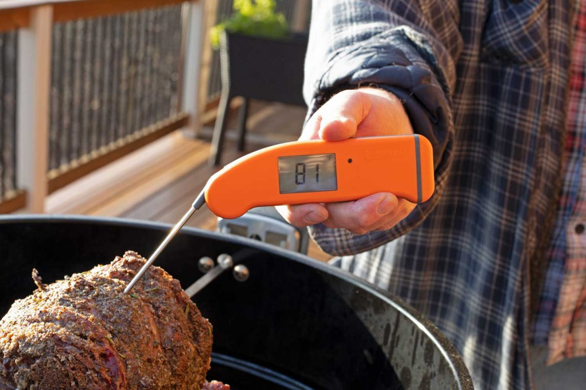 checking internal temperature of meat with thermapen