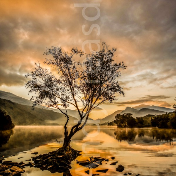 A vibrant sunrise over Llyn Padarn