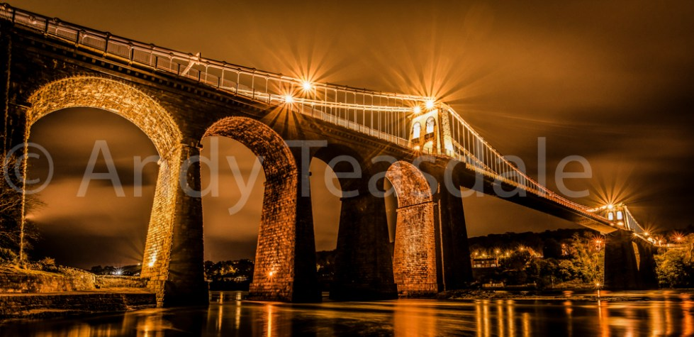 Menai Bridge at night