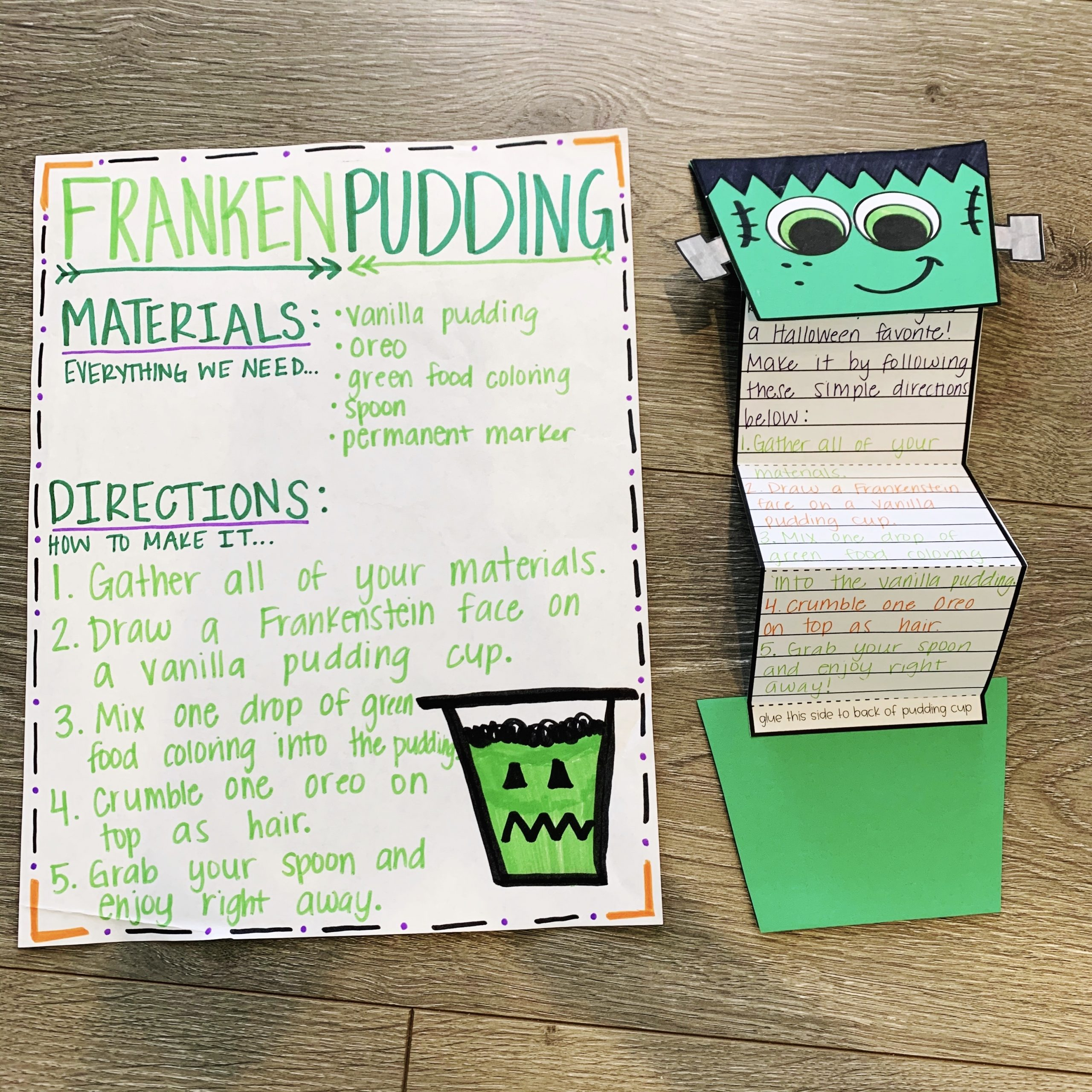 FrankenPudding Halloween Craft and Snack