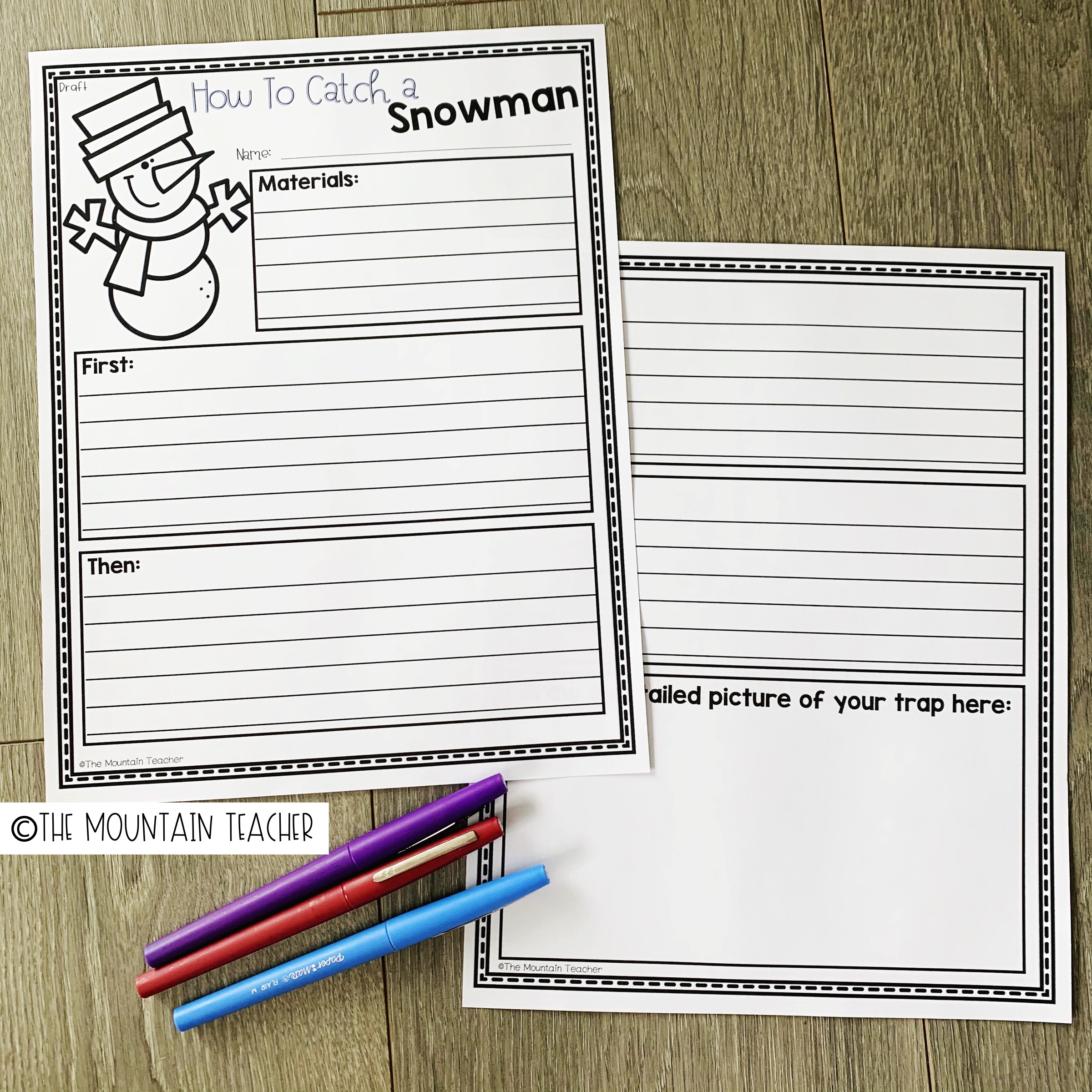 How to Catch a Snowman Writing Activity for Elementary Students 404