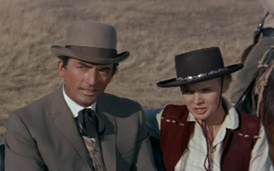 Gregory Peck and Carroll Baker in The Big Country
