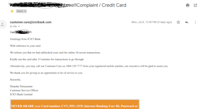 icici debit card online transaction blocked