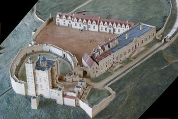 English: Bolsover Castle, 17th century Model o...