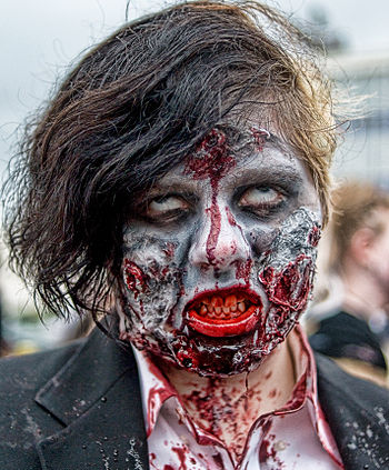 English: A participant of a Zombie walk, Asbur...