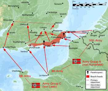 English: Plan of battle of Operation Sealion, ...
