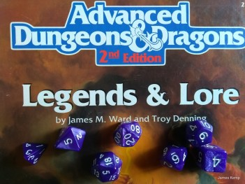 Roleplaying Advanced Dungeons and Dragons 2nd edition with dice