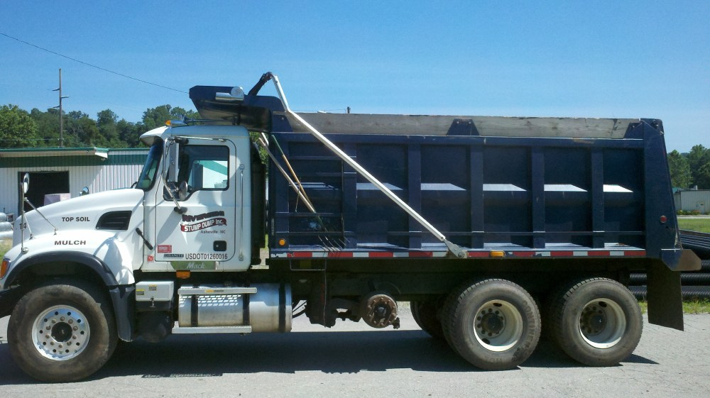 medium resolution of riverside stump dump s mack dump truck capacity 24 cubic yards of mulch or 16 cubic yards of topsoil