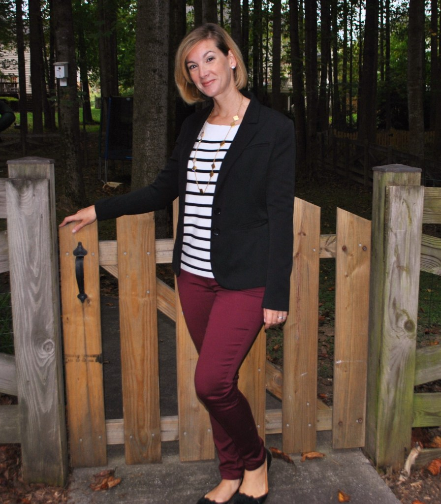 burgundy pants with stripes