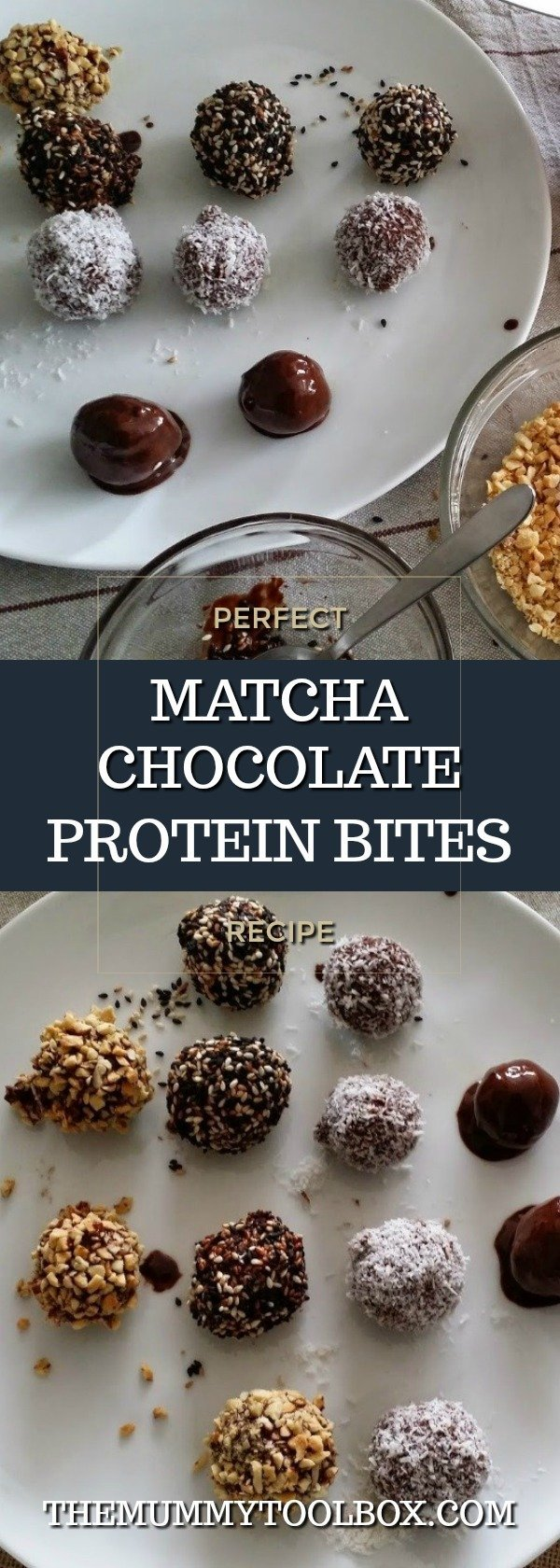 Matcha chocolate natural protein bites from scratch recipe guest post from Kitchen Takeovers. #recipes #delicious #foodies #protein