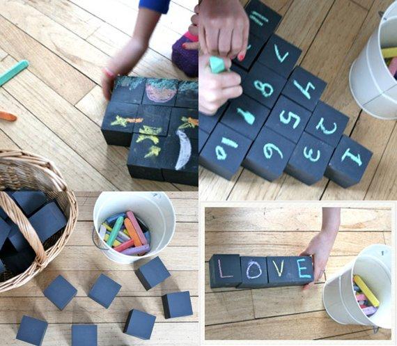 Chalkboard blocks - 10 projects for leftover chalkboard paint