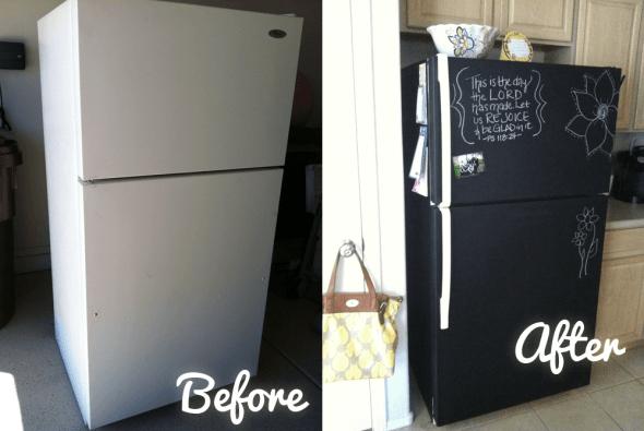 chalkboard fridge - 10 projects for leftover chalkboard paint
