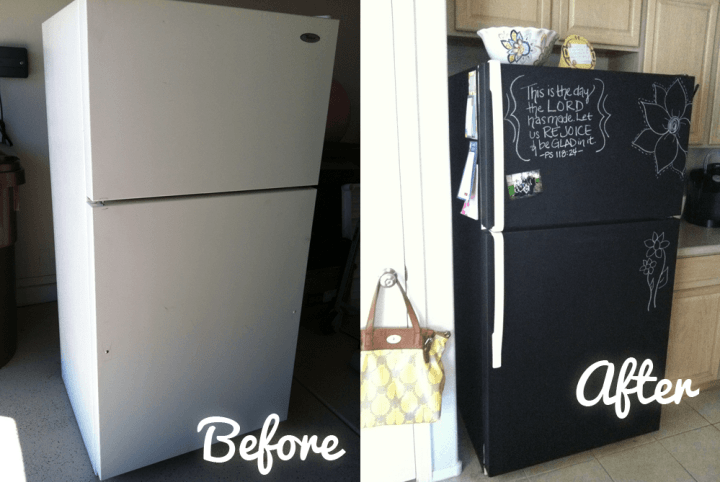 chalkboard fridge - 10 projects for leftover chalkboard paint