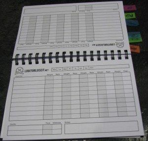 My Log it or Lose it book makes it easier for me to track workouts