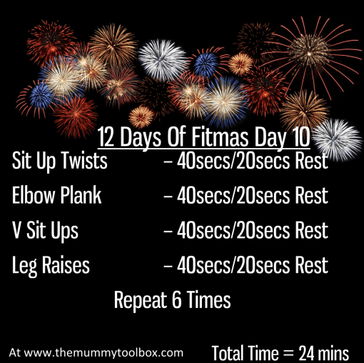 The 12 Days of Fitmas - Day 10 - repeat of above text workout in saveable image on black background with fireworks
