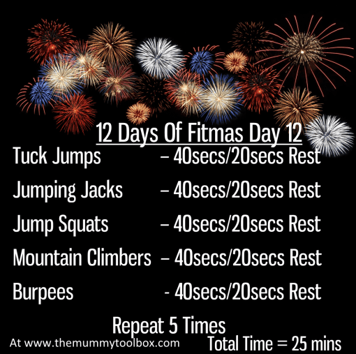 The 12 Days Of Fitmas - Day 12 repeat of above written workout on a black background with fireworks