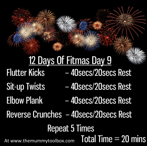 The 12 Days of Fitmas - Day 9 - repeat of the written workouts above in a saveable image on firework background