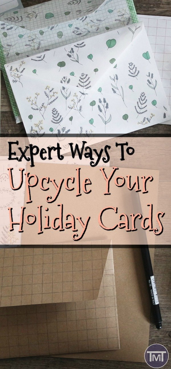 Expert ways to upcycle your holiday cards. Don't know what to do with your birthday cards, christmas cards or even those from fathers or mother's day? here's a list of handy projects to try and recycle them! #DIY #upcycle #projects #projectideas