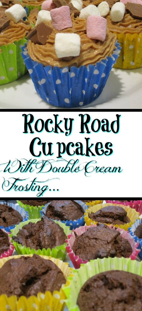 Rocky Road Cupcakes With Double Cream Frosting - Naughty but definitely worth it!