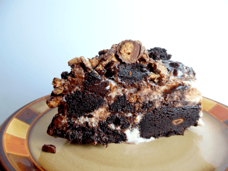 Reeses Brownie Ice Cream Cake by DIY Budget Girl