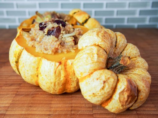 Crandberry, chesnut and Quinoa stuffed squash by Caroline's Cooking