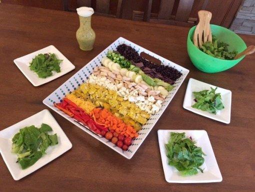 rainbow salad with mustard vinaigrette by Mash up Mom