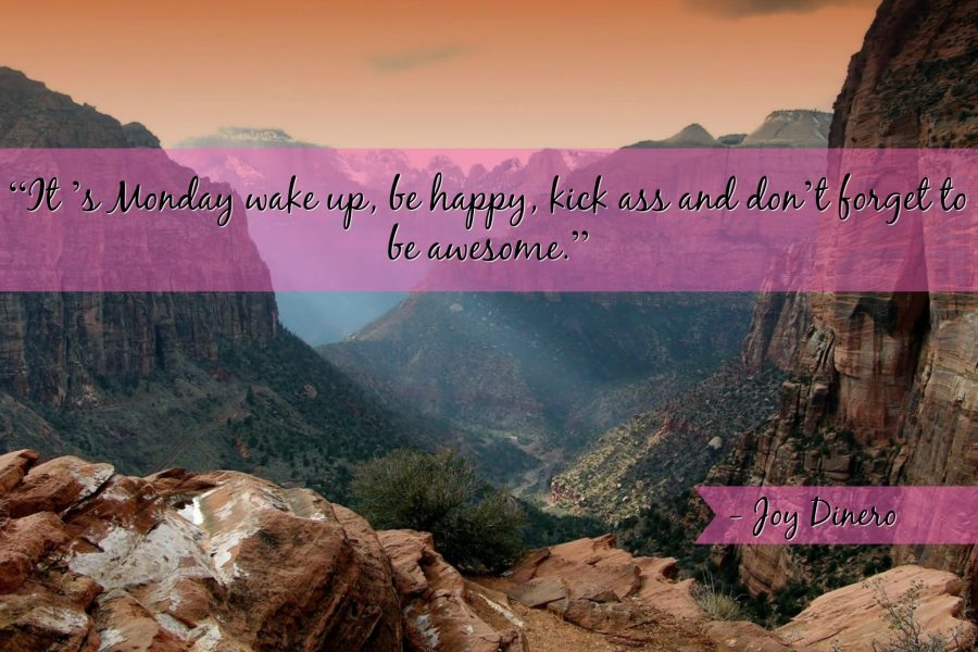 """""""It 's Monday wake up, be happy, kick ass and don't forget to be awesome."""" - Joy Dinero"""