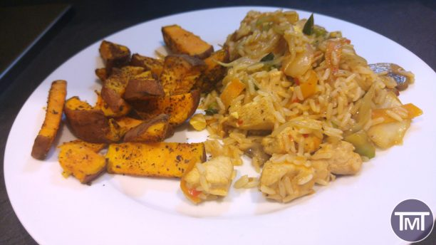 Smoky basil and paprika Sweet potato wedges with sweet chilli chicken stir fry and rice