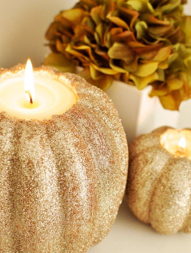 glitter pumpkin candle holders - 5 fun ideas for pumpkins this fall