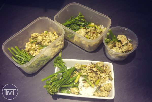 Pesto turkey and asparagus meal prep picture