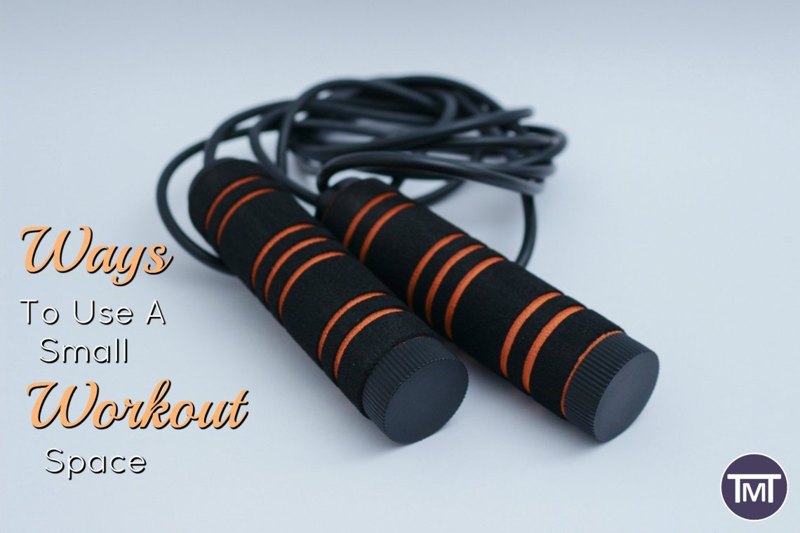 skipping rope on plain background with title - ways to use a small workout space in orange writing
