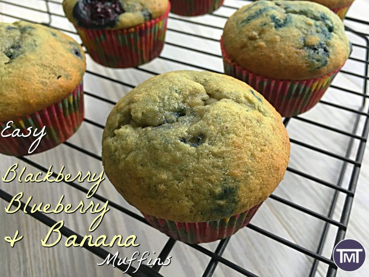 easy blackberry blueberry and banana muffins feature image
