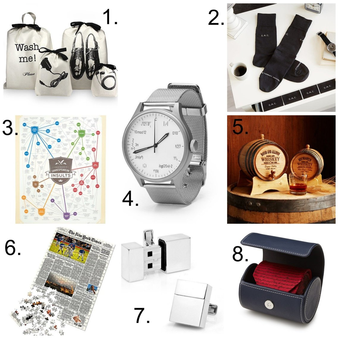 collage of unique gifts for men listed below