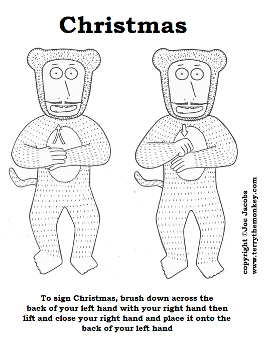 The sign language demonstration for signing Christmas