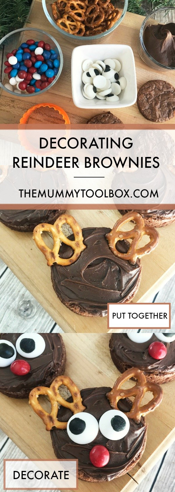 decorating reindeer brownies for festive fun with the kids. #christmasfood #christmas #treats #kidsactivities