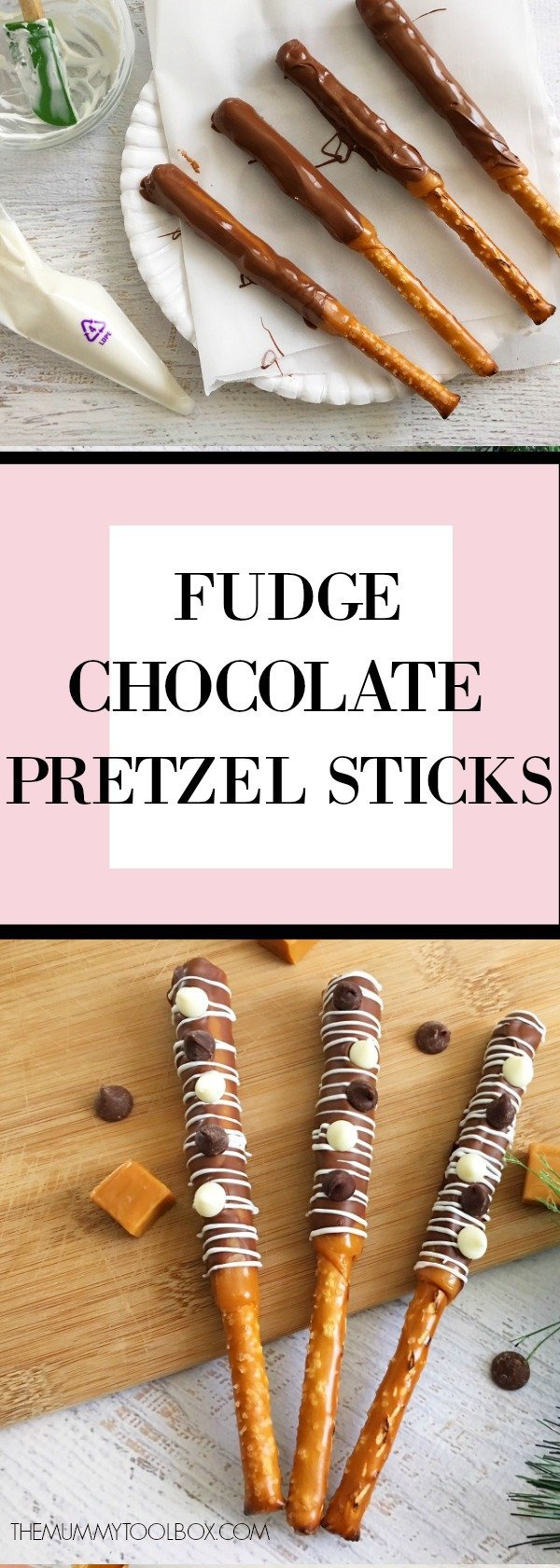 Fudge chocolate pretzel rods. Perfect party snack and delicious sweet and salty. #entertaiingfood #food #delicious #recipeideas #recipes