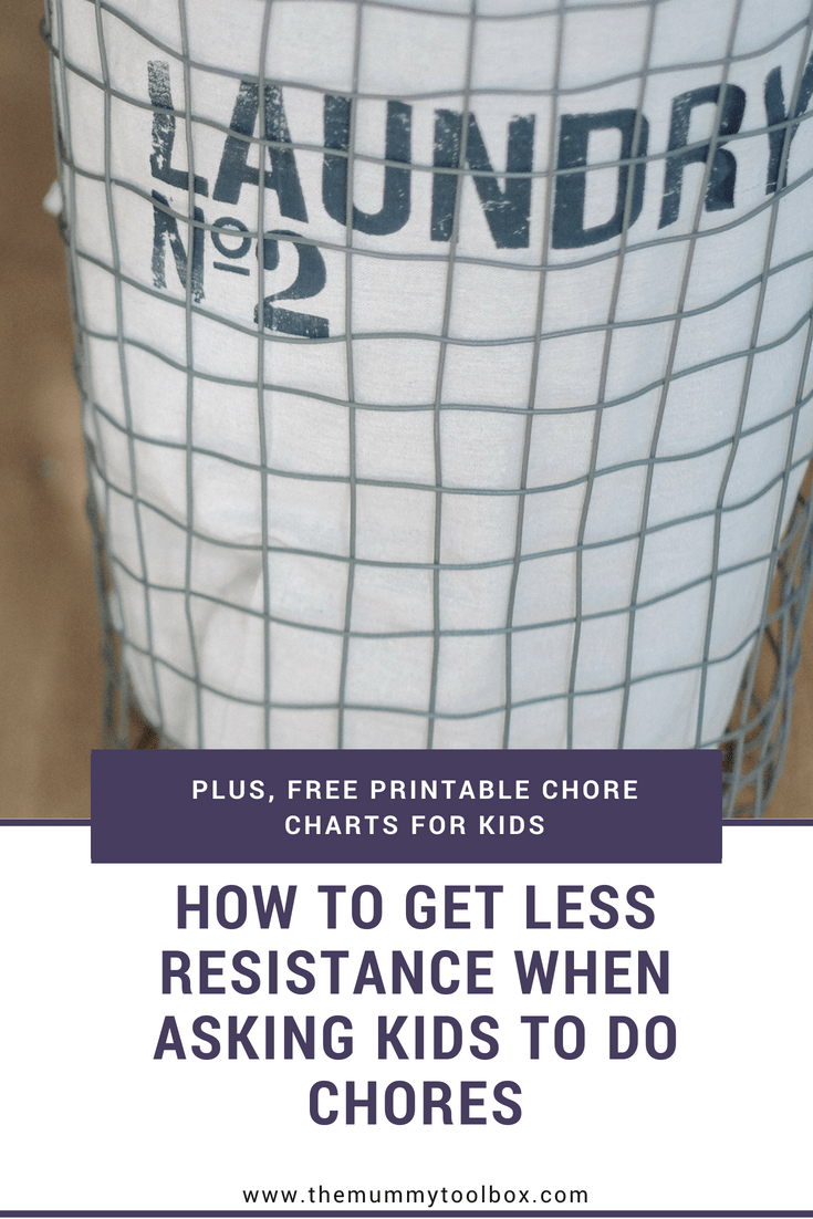 How to get less resistance when asking kids to do chores and stop the tantrums. Plus free printable chore charts for kids.