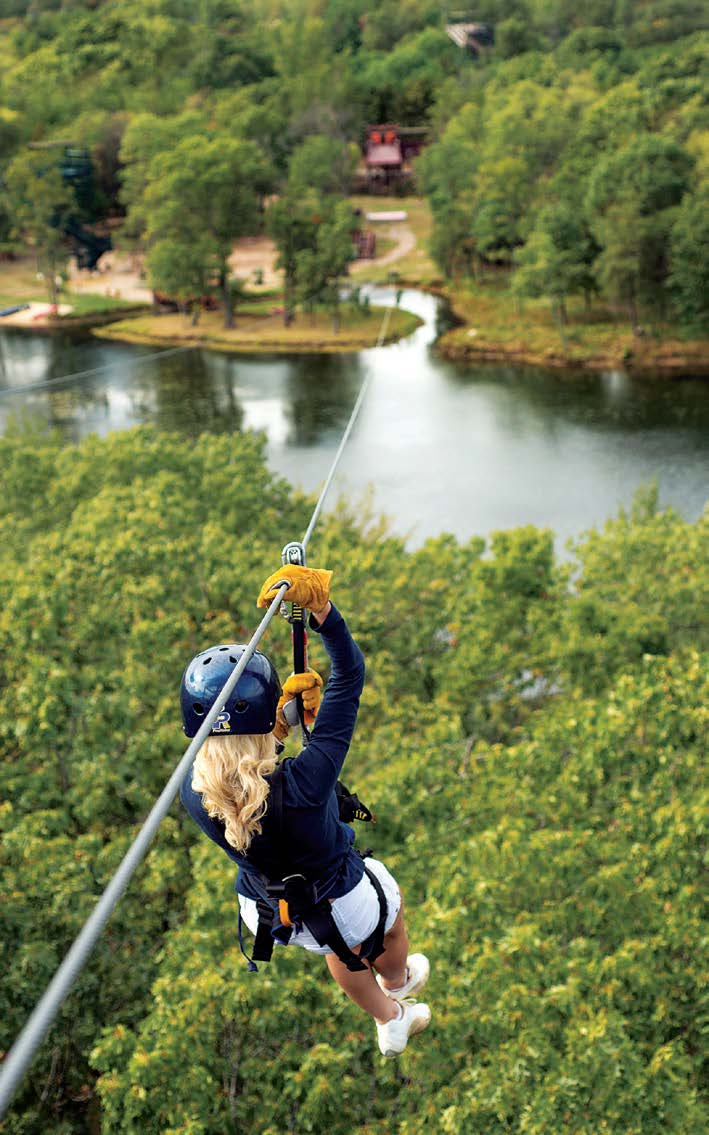 Risk-taking business owners such as those who own the local zipline service, if they have had the acumen to tie in to the Wisconsin Dells' renown as a tourist destination, have profited while fortifying the town's commercial base. (Photo provided)