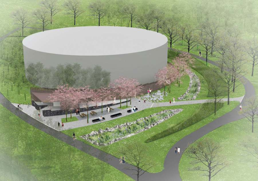 This architect's image of the gray water tank — to be built along a scenic Lexington, Ky., trail — incorporates landscaping and a camouflage construction that will diminish its overwhelming size and the generally unappealing facade of any water storage tank. (Image provided by Scape)