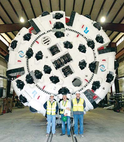 The five-mile-long portion of the tunnel will be approximately 160 to 180 feet deep and will be dug using an underground tunnel boring machine, or TBM, shown here. (Photo provided)