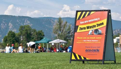 Zero waste events can help a community understand and experience a zero waste future. All materials at such an event can be composted or recycled, and vendors and staff work together to reduce overall waste — such as promoting refi llable water bottles. (Photo provided)