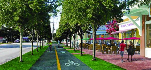 The plan that emerged from Folly Road design charrettes includes adding covered shelters and making the road safer by building continuous sidewalks, frequent crosswalks and protected bikeways. (Image provided)